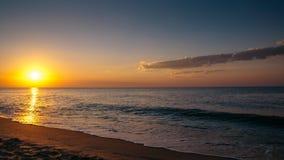 Twilight Sunset Stones. Dawn on the Black Sea, coast, waves Royalty Free Stock Photos