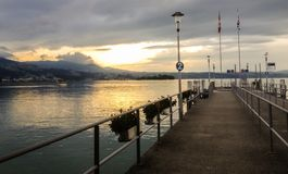 Twilight Sunset view on the Lake Zurich, Rapperswil, Switzerland, Europe royalty free stock photo
