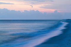 Twilight Surf. Evening light on the Gulf of Mexico Royalty Free Stock Image