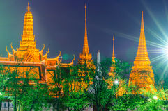 Twilight Temple of the Emerald Buddha (Wat Phra Kaew) Stock Image