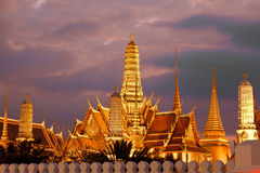 Twilight, Thai temple in Grand Palace, Bangkok Royalty Free Stock Image