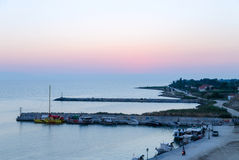 Twilight on the Thermaicos Gulf in Nea Kallikratia, Halkidiki, G Royalty Free Stock Photo