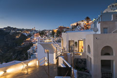 Twilight in Thira of Santorini island Stock Photography