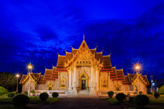 Twilight Time with Granite  Benchamabophit Temple Landscape in Bangkok Thailand Stock Photos