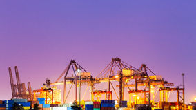 Twilight time at industrial port Royalty Free Stock Photo