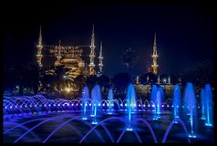 Twilight time in Istanbul and the mosque Stock Images