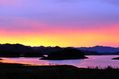 Twilight time at Kaeng-Krachan Dam Stock Images