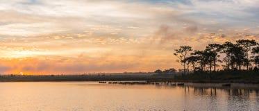 Twilight time with lake Stock Photo
