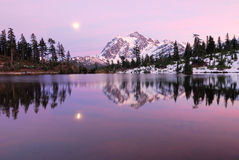 Twilight Time in Picture Lake Royalty Free Stock Photo