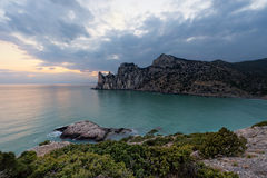 Twilight time on rocky coast of Black Sea Royalty Free Stock Photo