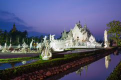 Twilight time of Wat Rong Khun in Chiangrai, Thailand Stock Photos