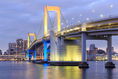 Twilight Tokyo landmarks,Tokyo Rainbow bridge Stock Photography