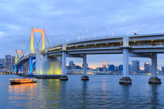 Twilight Tokyo Rainbow bridge in Japan Stock Image
