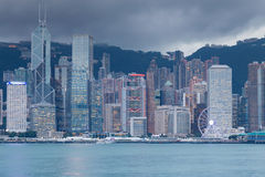 Twilight tone, Hong Kong central business downtown over Victoria Bay Stock Photo