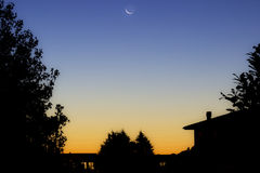 Twilight. With trees and houses silhouette Royalty Free Stock Images