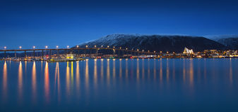 Twilight in Tromso, with Arctic Cathedral, Norway. Stock Image