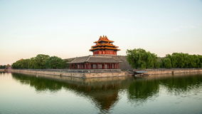 Twilight at turret of Forbidden City,Beijing,China. Twilight at turret of Forbidden City in Beijing,China stock footage