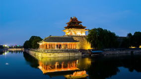 Twilight at turret of Forbidden City,Beijing,China stock video