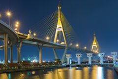 Twilight at twin suspension bridge over water gate (the Industrial Ring Road Bridge) in Thailand Stock Images