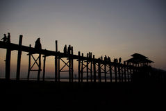 Twilight at U-Ben Bridge with myanmar people Royalty Free Stock Photo