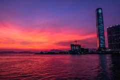 Twilight of City at waterfront Royalty Free Stock Photo