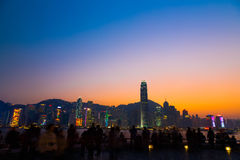 Twilight of Victoria Harbour. Hong Kong Stock Photo