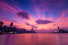 Twilight of Victoria Harbour. Hong Kong royalty free stock photos