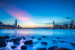 Twilight of Victoria Harbour, Hong Kong Royalty Free Stock Images