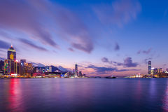 Twilight of Victoria Harbour Royalty Free Stock Photos