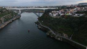 Twilight view on the bank of the Dora river in Porto. stock footage