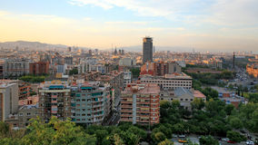Twilight view of Barcelona Spain Royalty Free Stock Photography