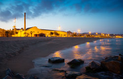 Twilight view of beach  at Badalona Royalty Free Stock Images