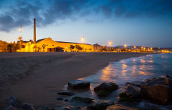 Twilight view of beach  at Badalona. Spain Stock Photography