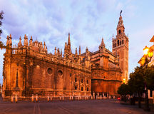 Twilight view of  Cathedral of Seville Stock Photo
