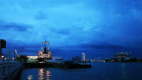 Twilight view of Chao Phraya River stock footage