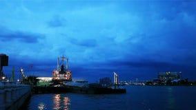 Twilight view of Chao Phraya River. In Bangkok Thailand stock footage