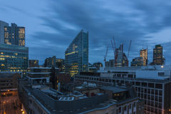 Twilight view of the City of London. From a balcony on 69 Wilson Street, London, England Stock Photo