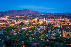 Twilight view of the city of Riverside  Stock Photography