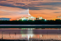 Twilight view with construction cranes at Laemchabang Port. Stock Photography