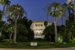 Twilight view of the famous Villa Massena. At Nice, France stock images