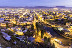 Twilight view of Kars city through the castle of Kars Royalty Free Stock Photos