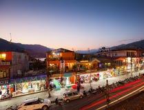 Twilight view of Lakeside, Pokhara, Nepal Royalty Free Stock Photo