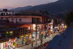 Twilight view of Lakeside, Pokhara, Nepal Stock Photo