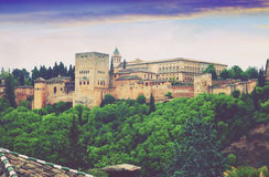 Twilight view of   Nazaries palaces of Alhambra.  Granada. Spain Stock Images