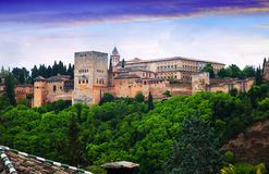 Twilight view of   Nazaries palaces of Alhambra.  Granada. Spain Royalty Free Stock Photography