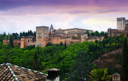 Twilight view of the Nazaries palaces of Alhambra.  Granada. Spain Stock Image
