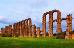 Twilight view of old roman aqueduct at Merida Stock Photography