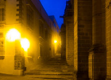Twilight view of old street in  Jerez de la Frontera Royalty Free Stock Images