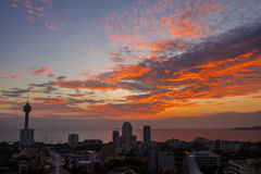 Twilight view panorama of Pattaya city at Thailand. Stock Image