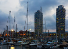Twilight view of Port  in Barcelona. Catalonia Royalty Free Stock Images